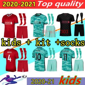 새로운 20 개 (21) 축구 유니폼 아이 키트 2020 2021 최고 품질의 홈 원정 셋째 아이 축구 셔츠 세트 골키퍼 유니폼