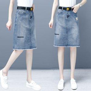 oBmtZ 62180 Daisy one-step skirt 2020 per le donne di media lunghezza di alta nuova denim vita che dimagrisce la linea hip- uno split one-step skirt