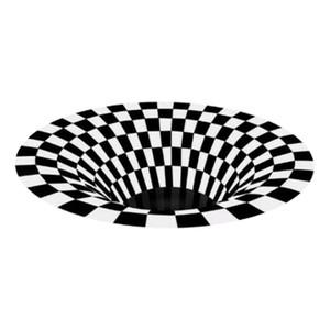 Area Rug Round 3D Swirl Print Optical Illusion Rug Anti-Slip Floor Mat