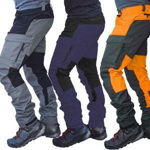 Mens Cargo Pants Mode-Farben-Block Multi Taschen Sport Lange Cargohose Arbeitshose beiläufige Art