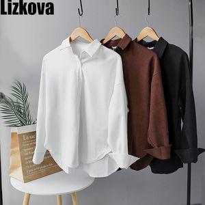 Lizkova Blanc Corduroy Shirt officiel Femme manches longues Chemisier officiel 2020 Mesdames surdimensionnée Hauts 8876