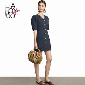 lFf9I Haoduoyi Herbst neue Art einfacher Small Batch Haoduoyi Herbst neue Art einfache Knopf-Kleid-Taste Kleid Small Batch