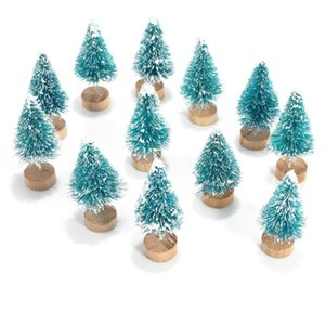 Faroot 12Pcs Mini Sisal Bottle Snow Brush Frost Christmas Trees for Xmas Party Decor New Year Cute Small Christmas Tree