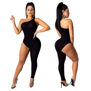 Mulheres Irregular um ombro Macacão Sexy mangas Slim Fit Calças macacãozinho Ladies Assimetria Jumpsuit