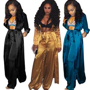 Satin deux pièces Ensemble Femmes Manteau long Kimono Cardigan Trench et Wide Leg Pants Set femmes pantalons Costumes 2 pièces Tenues Afrique