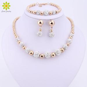 Qualitäts-Goldfarben-Schmuck-Set Nigerian Hochzeit Afrikanische Perlen Modeschmuck Armband-Ohrring-Halskette Y200810