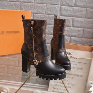 Высокие каблуки женщин конструктора ботинки ковбоя женщин лодыжки снег сапоги Лучшее качество сапоги женские зима Дизайнерские Каблуки Плюс Размер с коробкой