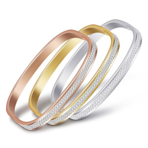 European stylish ladies rectangular shape stainless steel gold silver plated double layer crystal bracelet women bangle