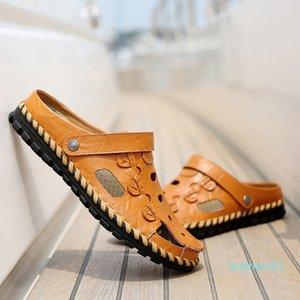 Men Casual Sandals 2018 Summer Men Leather Beach Sandals High Quality Sandale Homme Flat Shoes Sandalias Para Hombre Size 38-44 #56770 l11