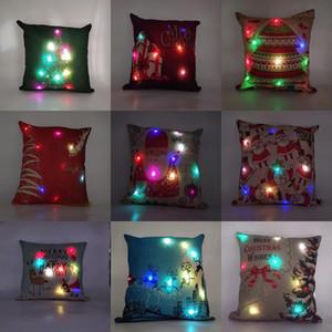 11 Estilos de Led de luz Almohada caso luminoso de la Navidad Decoraciones de almohada cubierta Reno de Papá Noel de Navidad Imprimir la funda de almohada fundas de cojines M2802