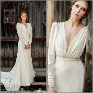 Simple Chiffon Beach Wedding Dresses Bohemian Long Sleeves V neck Bridal Dresses Cheap Sexy Back A Line Wedding Gowns