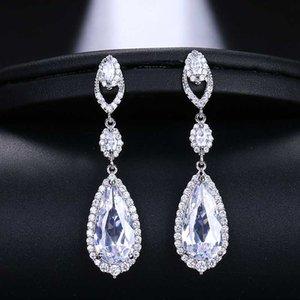 EMMAYA luxe Bridal Quatre Couleurs Vintage Allure Cristal Waterdrop long Goutte CZ Boucles d'oreilles pour les femmes de mariage Bijoux cadeau