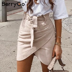 BerryGo vita alta cintura in pelle scamosciata gonna femminile autunno inverno mini bodycon irregolare Skirt bottom donne streetwear sexy skirt
