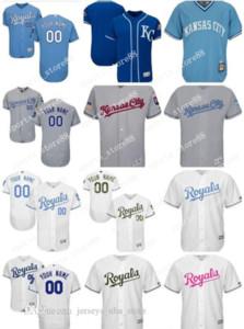 Hombres, mujeres, jóvenes personalizada KC Royals Jersey personalizado # 00 Cualquier Su nombre y número Inicio Blanco Azul jerseys del béisbol