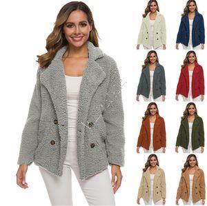 Plus Size femmes Sherpa Fleece Manteau d'hiver Épaissir chaud Veste en peluche Outwear avec doublure Silky Pardessus Boutique Mesdames Vêtements Hauts D82604