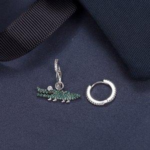 S925 gümüş yeşil küçük timsah gümüş dişi eğlenceli taze sevimli hayvan yaratıcı hediye ve küpe Hediyelik küpe İnternet ünlü aynı styl