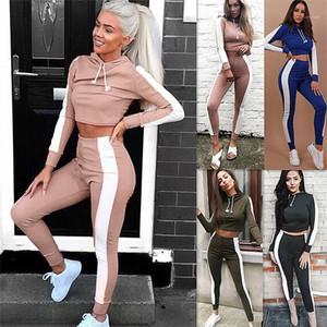 مجموعات نحيل كم طويل هوديس 2PCS الرياضة التباين عارضة المرأة اللون رياضية السيدات اثنان من قطعة وتتسابق مصمم