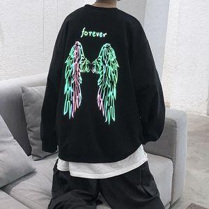 Mens Wing Print Sweatshirt Unisex Fashion Loose Pullover Plus Size M-5XL Autumn Winter Long Sleeve Sweatshirts Women Stylist Hoodies