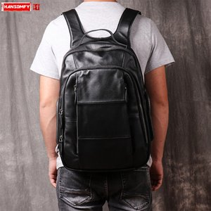 New Leather Backpack Men Casual Juventude Laptop Mochilas Homens Moda Escola Preto grande capacidade de Negócios de couro genuíno