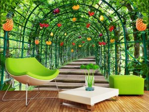 Taille personnalisée 3D Photo Wallpaper Salon mural Fleur Melon Fruit Shelf Paysage Image Sofa TV Toile de fond Home Decor Creative Wallpaper