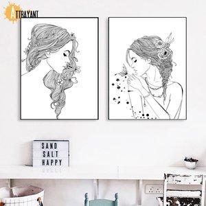 Mode Fille Fleur papillon noir et blanc nordique Affiches et sérigraphies Wall Art Toile Peinture murale photos pour Living Room