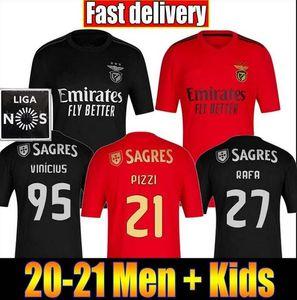Top SL Benfica Soccer Jersey 2020 2021 JONAS JOAO FELIX Camisola de futebol PIZZI 20 Camisa 21 de futebol SALVIO JARDEL Men + Kits uniforme