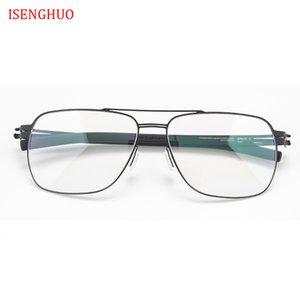 ISENGHUO No Cıvata Gözlük Çerçevesi Erkekler Kadınlar Gözlük çerçeveleri Ultra Hafif Ultra ince Solderless Tasarım Gözlük Reçete Çerçeve
