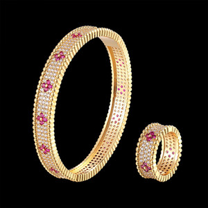 Classic Luxury beaded bangle and ring jewelry set 3A white zircon and color zircon Bracelet female fashion accessories bestgift