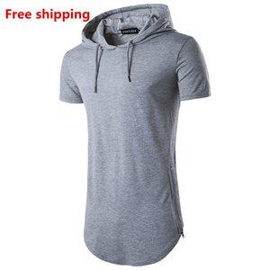 Livraison gratuite! Top Tee Hot vente à capuchon Zipper Long Summer T-shirt T-shirt décontracté à manches courtes hommes ronde Mode T-shirt col pour hommes