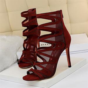 2020 Summer manera de las mujeres peep toe sandalias de malla gladiadores 10 cm Lápiz tacones altos sandalias Negro cremalleras atractivo del club Zapatos