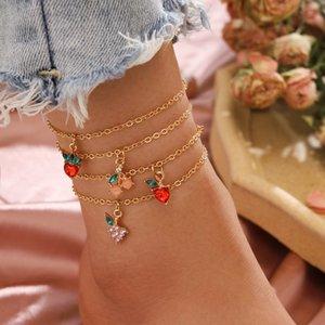 4pcs / set Donne cavigliere Catene modello della frutta Catene Beach cavigliere sandali a piedi nudi del piede Leg Bracciali piede braccialetto di caviglia dei monili della catena del piede