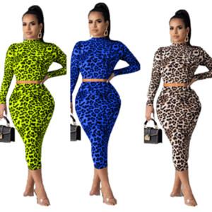 Vestito di un pezzo del vestito due Leopard camicette con cappuccio Crop delle donne delle parti superiori + Skinny Gonna Bodycon abiti Travestimenti del partito Fashion Bar Suit Abbigliamento LY811