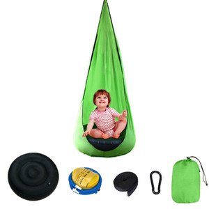 Children Hanging Chair 140*70cm Light Portable Parachute Indoor Courtyard Lazy Hanging Chair Inflatable Cushion Swing Bed VT1550