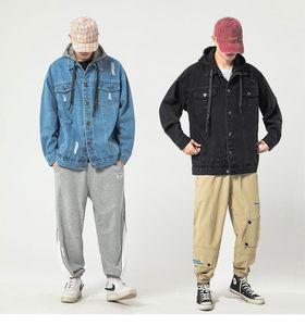 Homens Hoodies Denim Jaqueta Vintage Casacos Streetwear Hip Hop Juventude Roupas Masculino Outono Hoodie Roupas Coréia Japão Bolso