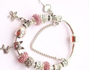 1pcs Drop Shipping Silver Plated Bracelets Women Snake Chain Charm Beads for pandora Beads Bangle Bracelet Children Gift A11