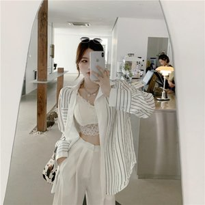 South Korea INS New Products Shirt Female Mock Two-Piece Sense of Design Non-mainstream Stripes Shirt Vintage Hong Kong Flavor V