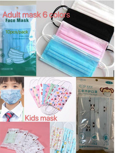 Máscaras para niños máscara adulta individual del paquete 10pcs / pack diseñador de dibujos animados para niños Máscara de cara 3 capas Mascarilla desechable Mascarilla protectora Kid
