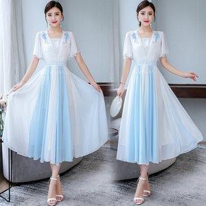 2e5Xv 8986 blue and white women's women's stitching slim style dress 2020 Summer new National improved Hanfu National fit fairy dress