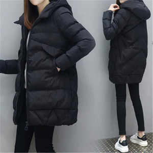 Femmes Mode long de l'hiver vers le bas Coton Veste Manteau Femme Style Veste de poche à capuchon chaud Manteaux d'hiver de femmes