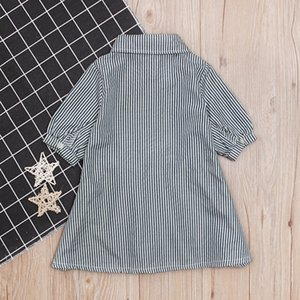 Clearance newest summer Dress Children Baby Girls Stripe Print Dance Dress Kids Button Dresses Clothes 0117