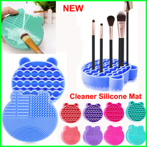 Silicone Makeup Brush Cleaner Mat 2 in 1 Brush Cleaning Pad with Brushes Drying Holder Tray Cosmetic Brushes Scrubber Mat Washing Tool