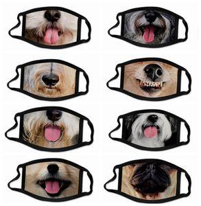 Tierhundemaske 3D Printed Funny Face Abdeckung Katze Gesichtsmaske Fashion Face Shield Gewaschene Wiederverwendbare Staubdichtes Masken für Männer und Frauen LSK956