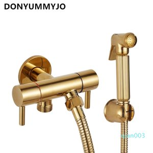 All-copper Pressurized Golden Toilet Spray Gun One Into Two Out Angle Valve Clean Body Bidet Nozzle Shower Rinse Bathroom Faucet