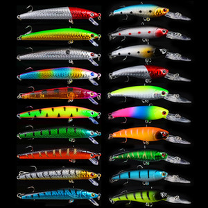 20 pcs Mixed Fishing Lures Minnow Crankbaits Bass Baits high carbon steel treble hook Wobblers Set Lifelike Fake Fishing bait
