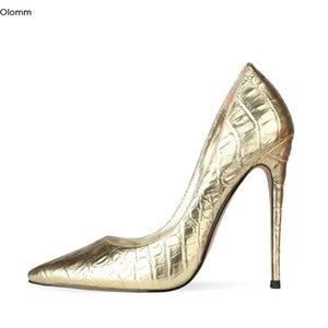 Olomm Krokodilmuster-Frauen-Pumpen-Stilett-Absatz-Pumpen-Spitzschuh Herrliches Gold Silber Partei Schuhe Frauen plus US-Größe 4-13