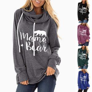 Autumn Letter Print Hoodies Hooded Women Loose Cotton Pullover Hoodie Mama Bear Print Sweatshirt Casual Hoody Ladies Winter Tops