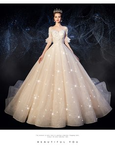 French light wedding dress in autumn 2020 new tail, palace Hepburn super immortal simple dream