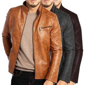 New Men Spring New Motorcycle Causal Vintage Leather Jacket Coat Men Autumn Outfit Fashion Biker Pocket Design PU Leather Jacket