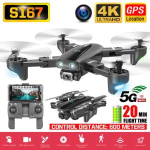 RC 쿼드 콥터 S167 드론 GPS 4K HD 카메라 5G 와이파이 FPV 접이식 셀카 드론 전문 600m 제어 거리 팔로우 나