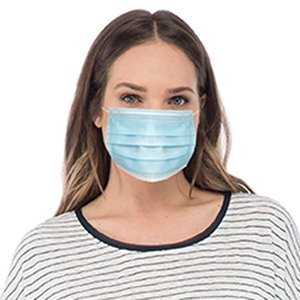 Face Masks, 3 Layer Disposable Face Masks with Nose Clip and Ear Loops blue 50 Masks